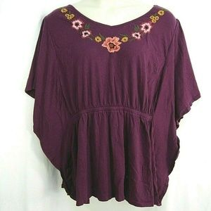 Lane Bryant Boho Top Floral Embroidered Batwing